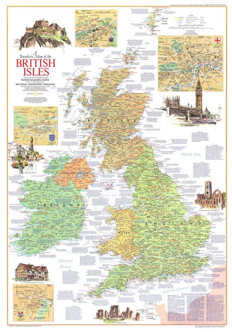 Travelers Map Of The British Isles Map 1974 Side 1