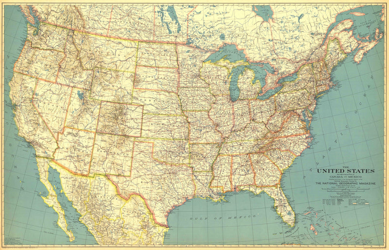 United States Of America Map 1933