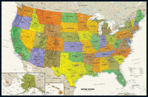 Contemporary USA Wall Map - Tyvek