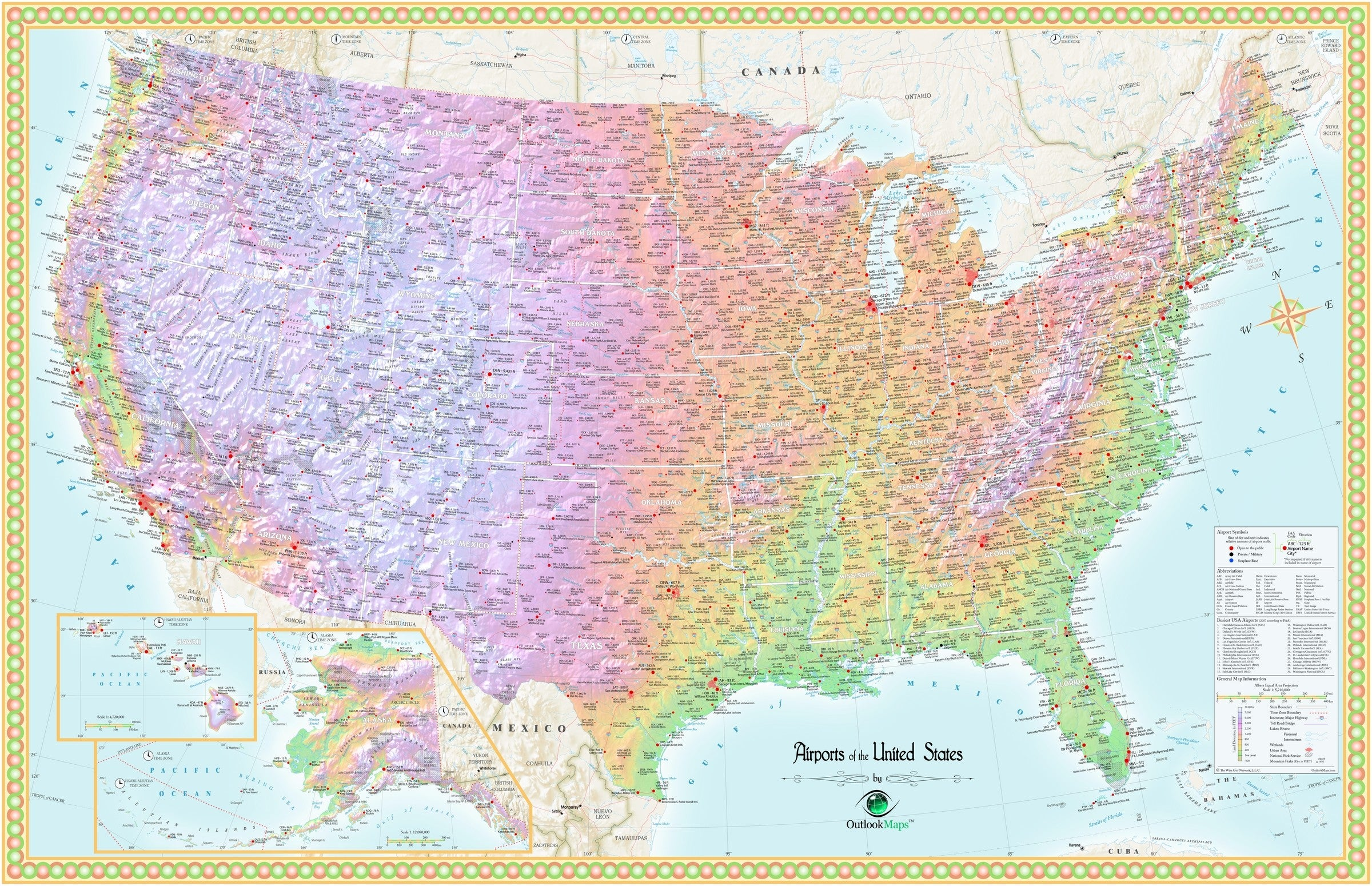 Image of: United States Airport Wall Map Maps Com Com