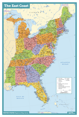 East Coast USA Wall Map