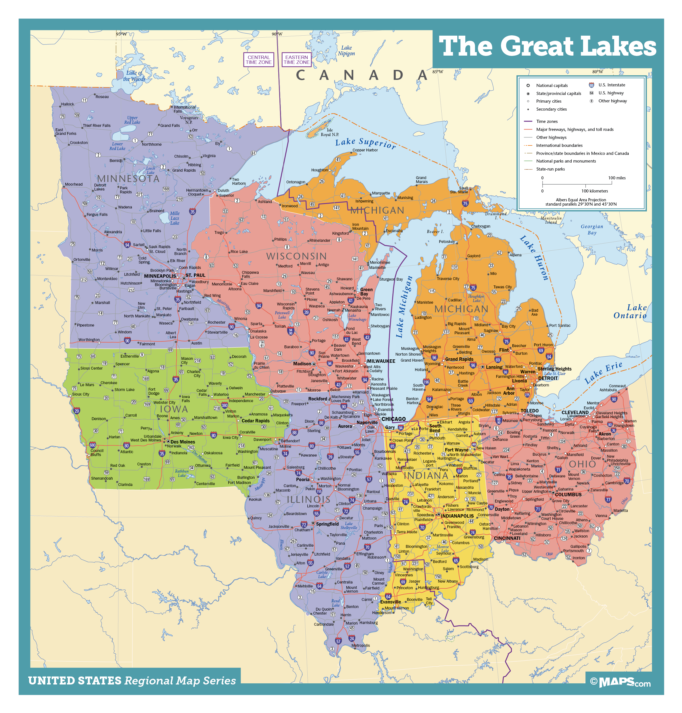 Great Lakes States Map Great Lakes States Wall Map | Maps.com.com