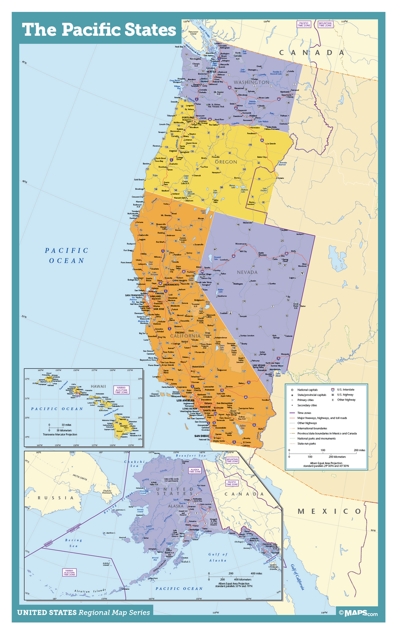 Pacific States USA Wall Map