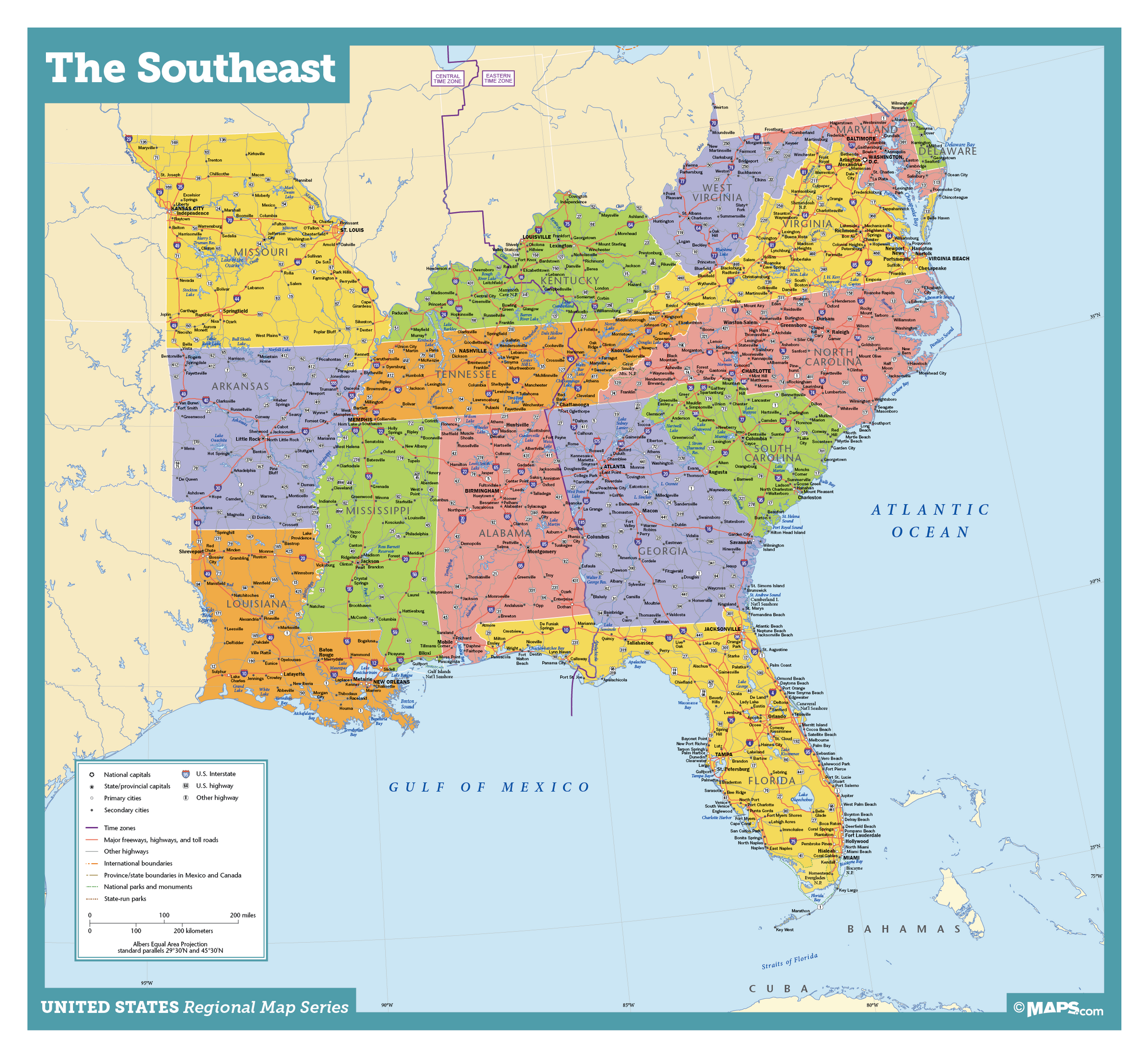 southeast us map with major cities Southeast Usa Wall Map Maps Com Com