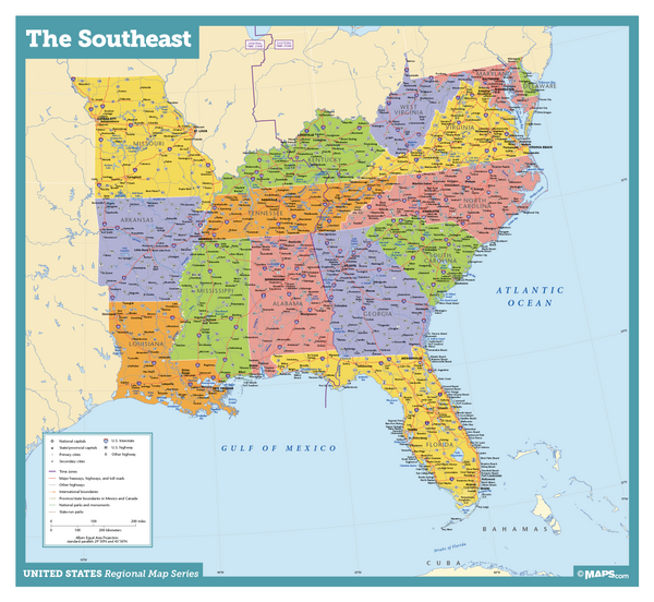 Southeast USA Wall Map