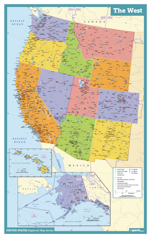 The West USA Wall Map