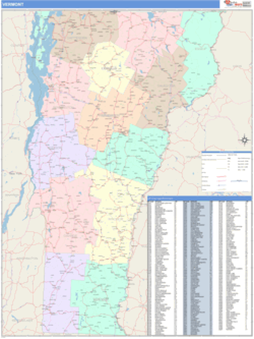 Vermont Business Wall Map