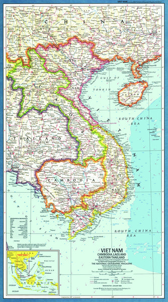 Vietnam, Cambodia, Laos And Eastern Thailand Map 1965