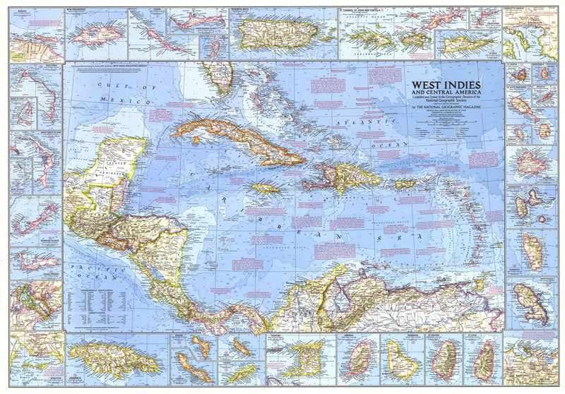 West Indies And Central America Map 1970