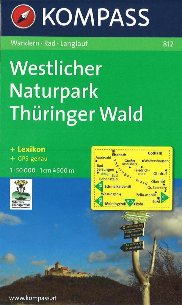 Cover of Western Nature Park and Thuringian Forest Hiking Map By Kompass