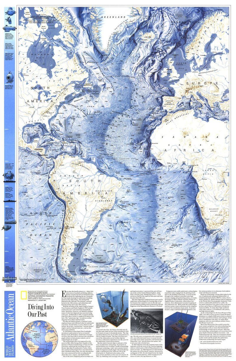 World Ocean Floors, Atlantic Ocean Map 1990