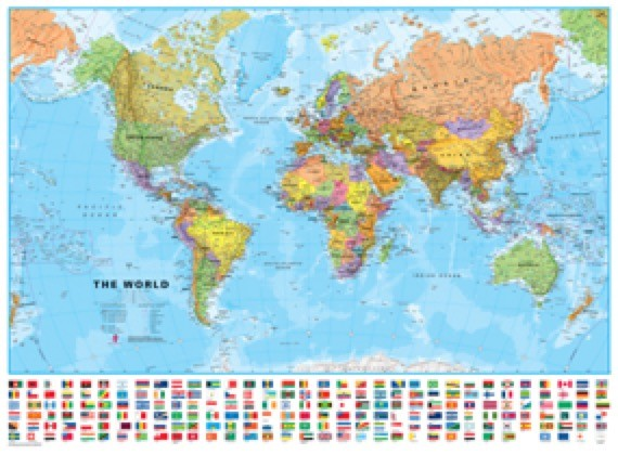 World Wall Map with Flags