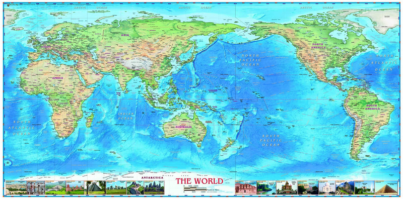 World Physical Pacific Centered Wall Map