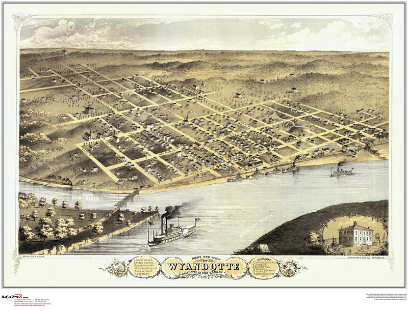 Wyandotte County Antique Wall Map