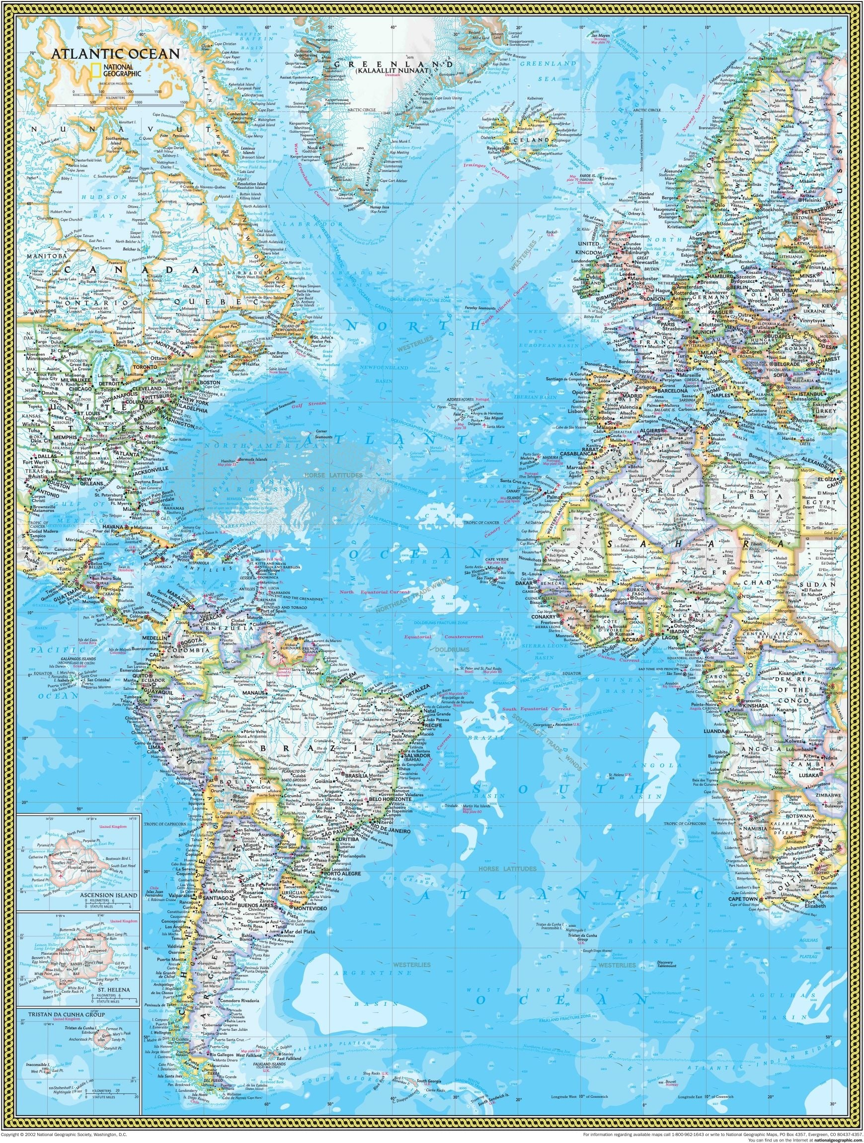 National Geographic Atlantic Ocean Political Wall Map on europe shaded on a world map, national geographic world mural map, national geographic language world map, national geographic world map wallpaper, national geographic framed world map, national geographic large world map,