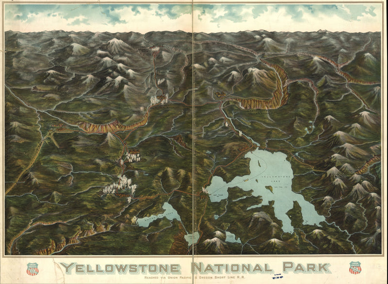 Historic 1900 Yellowstone National Park Wall Map