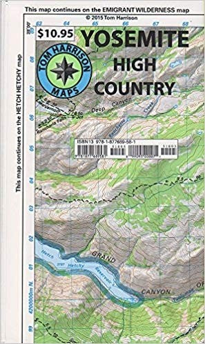 Yosemite High Country Trail Map by Tom Harrison Maps