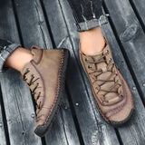 Men Hand Stitching Microfiber Leather Comfy Soft Boots