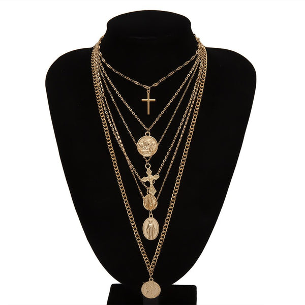 Vintage Multi Layer Carved Coin Angel Pendant Choker Necklace Gothic Virgin Mary Cross Chunky Chain Long Necklace Women Jewelry
