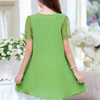 Christmas Deals 6XL Plus Size Women Blouses 2019 Summer Tops Hot O-Neck Short Sleeve Lace Chiffon Blouse Shirt DF311 - the-discounted-stuff