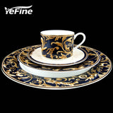 YeFine Ceramic High-grade Gold Plating Bone China Dinnerware Plates Set Steak Dishes Porcelain Tableware Set Cups And Saucers
