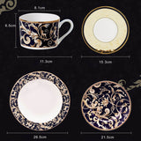 YeFine Ceramic High-grade Gold Plating Bone China Dinnerware Plates Set Steak Dishes Porcelain Tableware Set Cups And Saucers (4 PCS Set)