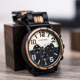 BOBO BIRD Wooden Stainless Steel Watch Men Water Resistant Timepieces Chronograph Quartz Watches relogio masculino Men's Gifts