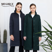 MIEGOFCE 2019 Women Cotton Padded Jacket Thin Women Quilted Parkas Long Spring Windproof Women's Spring Jackets Coats New Design