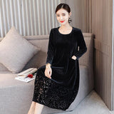 Christmas Deals 2019 Hot Autumn Women Dress Vintage Tunic Solid Corduroy Vintage Long Dress Vestidos Robe Dresses M-3XL DF414 - the-discounted-stuff
