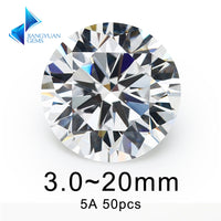 50pcs 3.0~20mm 5A Round Machine Cut White Zircon Stone Loose CZ Stones Sample Synthetic Gemstone For Jewelry DIY