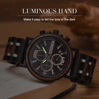 Relogio Masculino BOBO BIRD Wooden Watch Men Top Brand Luxury Stylish Chronograph Military Watches in Wooden Box reloj hombre