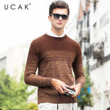 UCAK Brand Merino Wool Sweater Men Autumn Winter Thick Cashmere Pullover Men Fashion Gradient Color Men Sweater Pull Homme U3055