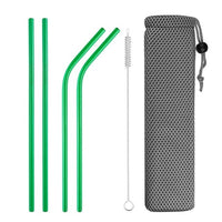 Reusable Metal Drinking Straws 304 Stainless Steel Straw Bent Straight Smoothies Straw with Cleaning Brush Bar Party Accessory