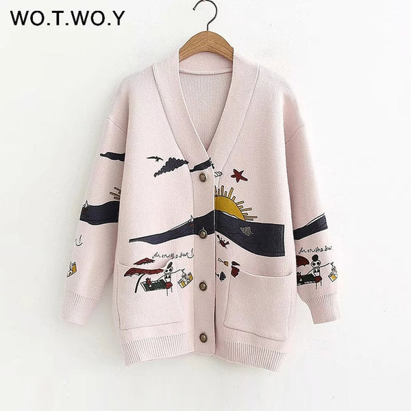 WOTWOY Autumn White Cotton Knitted Women Coat 2019 Print V-neck Belt Pockets OpenSwitch Female Jumpers Casaul Buttons Women Tops
