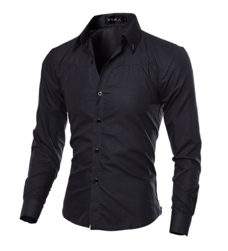 2019 Fashion Men Luxury Casual Formal Shirt Wedding Party Decent Long Sleeve Slim Fit Tops Business Office Work Outwear Shirts