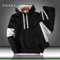 Sets Tracksuit Men Autumn Winter Hooded Sweatshirt Drawstring Outfit Sportswear 2020 Male Suit Pullover Two Piece Set Casual