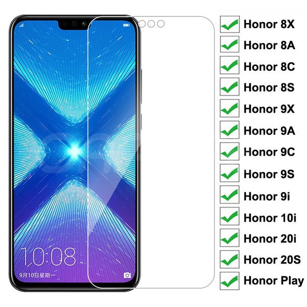 9H Protective Glass For Huawei Honor 8X 8A 8C 8S Tempered Screen Protector Honor 9X 9A 9C 9S 9i 10i 20i 20S Play Glass Film Case
