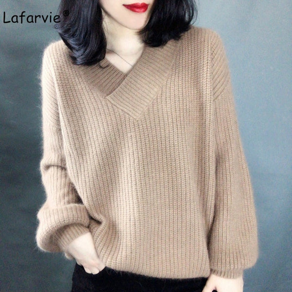 Lafarvie High Quality Cashmere Blended Knitted Sweater Women Tops Autumn Winter V-neck Pullover Female Warm Loose Knitted Jumper