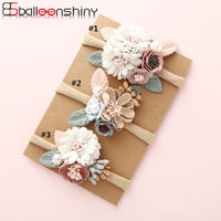 BalleenShiny Fashion Florals Headband Newborn Baby Elastic Princess Hairbands Child Kids Pearl Fresh Style Cute Headwear Gifts