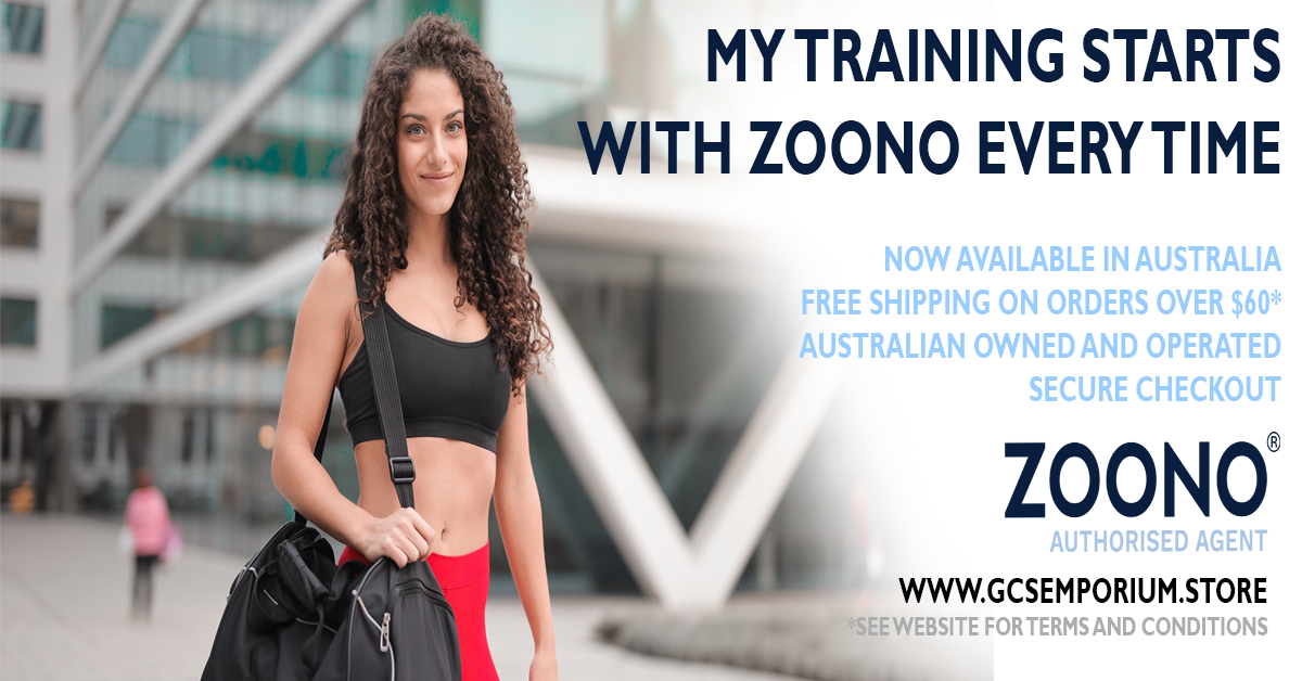 """Female with gym bag promoting Zoono. Promotion reads, """"Her training starts with Zoono every time."""""""