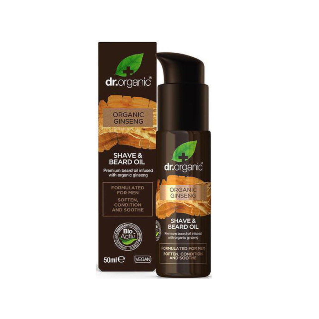 Dr Organic Dr Organics Shave and Beard Oil 2-in-1 with Ginseng 50ml - GCS Emporium Store