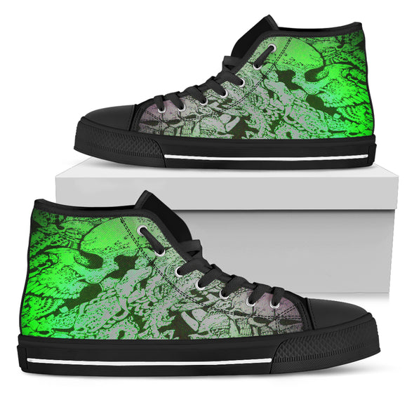 Women's High Top Shoes - Green Skull