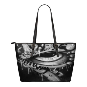 Small Leather Tote - Eyeball b/w