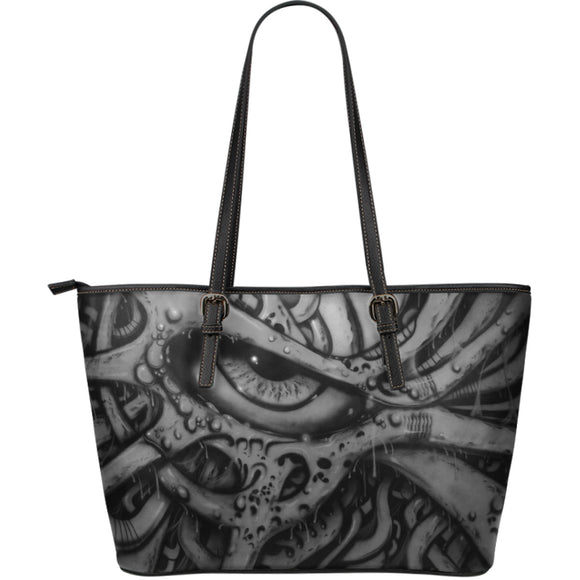 Large Leather Tote - Eyeball 2 b/w