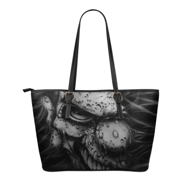 Small Leather Tote - Clown b/w