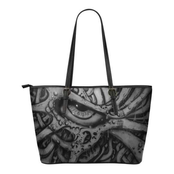 Small Leather Tote - Eyeball 2 b/w