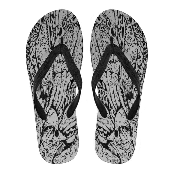 Women's Flip Flops - Creepy Faces