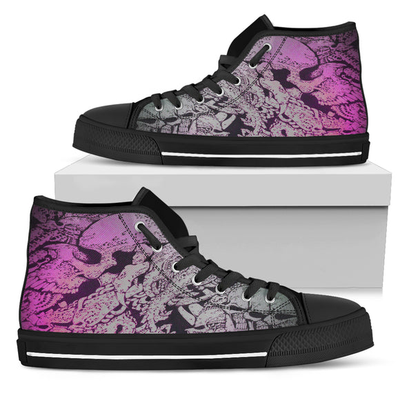 Women's High Top Shoe - Purple Skull