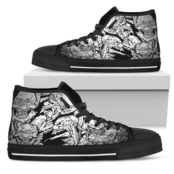Women's High Top Shoe - Monster Madness b/w