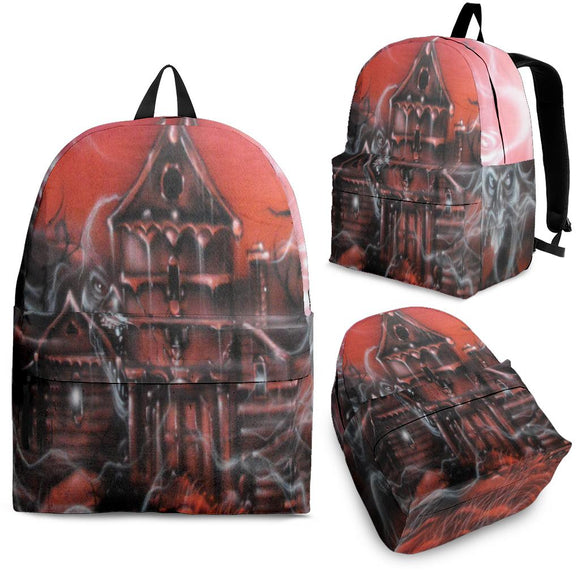 Backpack - Haunted House red
